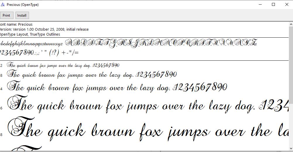 install cursive font
